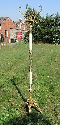 Gorgeous Antique Brass & Onyx Marble Hall Tree Coat Hat Rack Stand Floor Mermaid