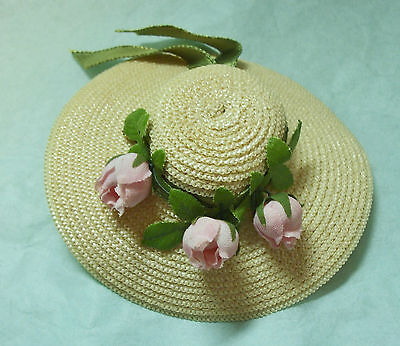 Vintage 1950-60's Madame Alexanderkins WENDY Straw Hat Pink Roses & Green Ribbon
