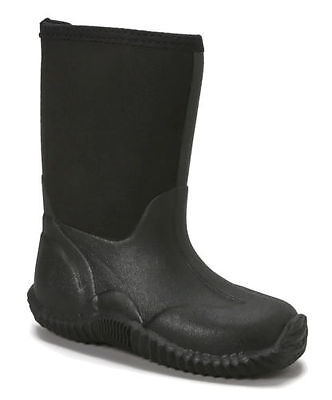 Boys BLACK SNOW BOOTS Neoprene Insulated WATERPROOF Rubber Sole 3 to 6 NEW