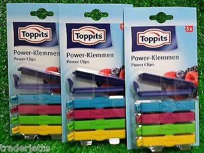 0,87€/Stück)  15 Stück Toppits POWER-KLEMMEN Power Clips bunt (3x 5-erPack)