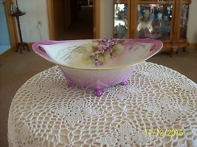 RS Germany Antique Footed Double Handled Violet Pattern Bowl