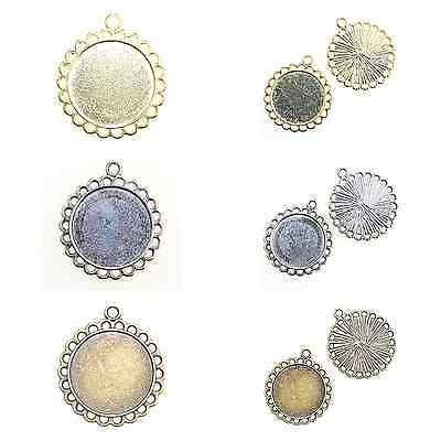 5 ROUND CAMEO CABOCHON PENDANT SETTINGS with a 20mm inner tray