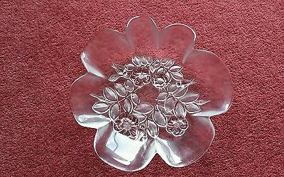 Mikasa Rosella Dogwood Rose fluted clear frosted  bowl 8 inch diameter.