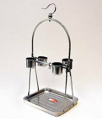 New Stainless Steel Hanging Perch Bird Feeder Stand (4-Feeder)-Small