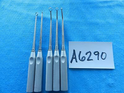 Codman Surgical Orthopedic Straight & Curved Ring Curettes Lot Of 5