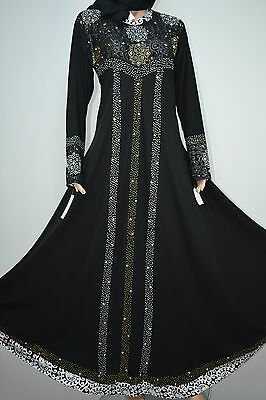 Abaya Jilbab Kaftan Islamic dress long crystal Embroidery size XL  (UK 20-22)