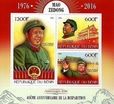 Benin 2016 MNH Mao Zedong Tsetung 40th Memorial 3v M/S World Leaders Stamps