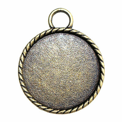 Round cameo cabochon pendant settings 20mm inner tray sold in packs 5 antique bronze tone round cabochon pendant settings 25mm tray aloadofball Images