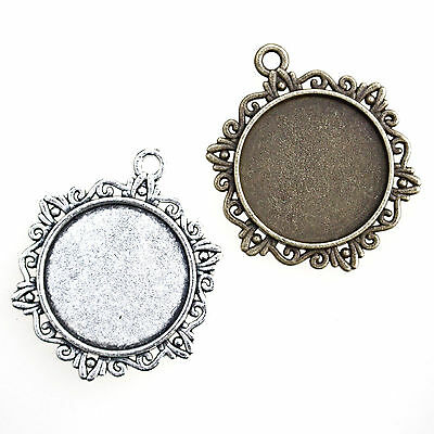 5 ANTIQUE SILVER or BRONZE ROUND CAMEO CABOCHON PENDANT SETTINGS with 25mm tray