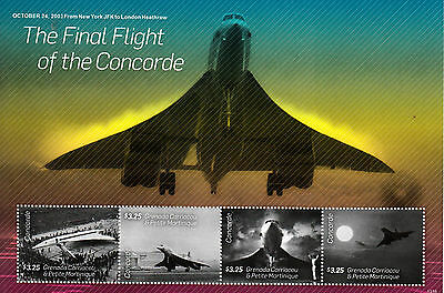 Grenadines Grenada 2013 MNH Concorde Final Flight 4v M/S Aviation JFK Stamps