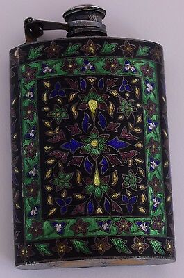 Old fabulous colorful enameled sterling silver large Whiskey liquor flask marked