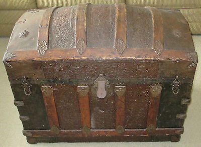 Vintage Antique 1879 Victorian Steamer Camel Back Trunk Wooden Chest