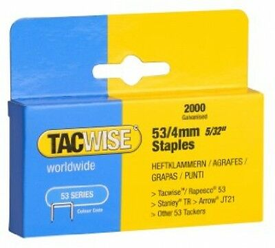 NEW Tacwise Heavy Duty 53 Series Staples 4mm (2000)