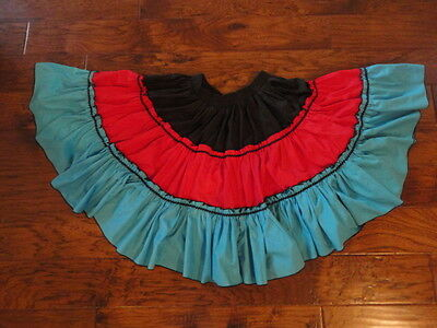 "Square Dance Skirt, 20"" Length, Black/Red/Turquoise       -sacurrie1"