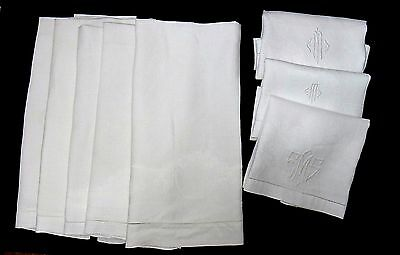 Lot 8 Vintage Linen Damask Hand Towels - 3 with Monograms - FINE Clean Group!