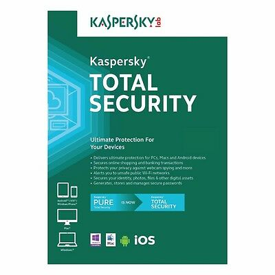 Kaspersky Total Security 2017 3 Device 2Year NEXT DAY DELIVERY SendKey Free Post