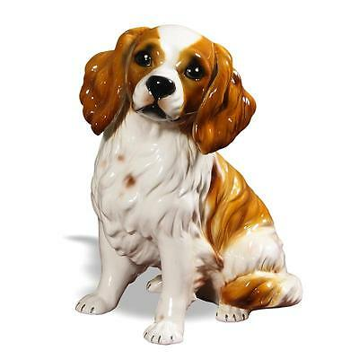 Intrada Italian Ceramic White & Brown King Charles Spaniel Statue Dog Figurine