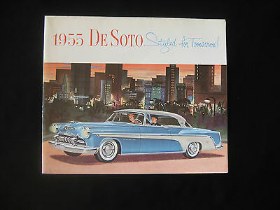 ORIGINAL VINTAGE 1955 DE SOTO CAR DEALER SALES SHOWROOM BROCHURE 9.5X11 Foldout