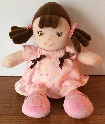 Garanimals Doll Plush Soft Toy Brown Hair Pink Dress Lovey Girl Rattle Pigtails