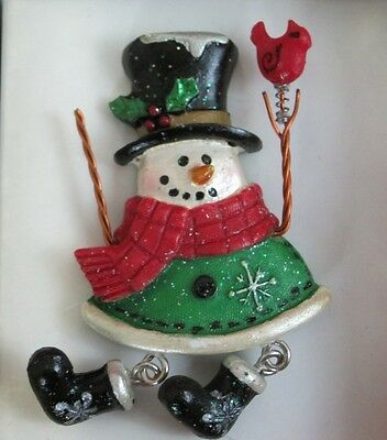 Christmas Snowman Pin Brooch Dangle Legs Sparkly Holding Cardinal New in Box