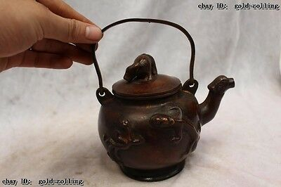 "5""Chinese Purple Bronze carved excellent lifelike Ox animal flagon water jug"