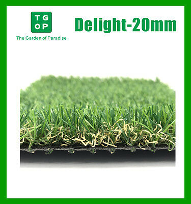 Delight-20mm 4 Tone Artificial Grass Synthetic Turf Lawn Carpet 2m or 4m Width