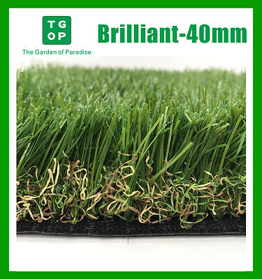 Brilliant-40mm 6Tone Artificial Grass Synthetic Turf Lawn Carpet 2m or 4m Width