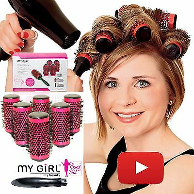 New 2016 Pink Roll and Click Hair Rollers Curl Brush -Essex Blow Dry- In A Box