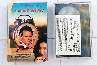 Groundhog Day on Video 8; Bill Murray; 8mm mini videocassette cartridge, video8