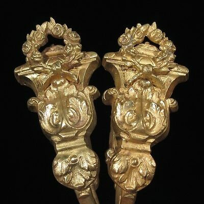 Pair of Antique French Bronze Tiebacks, Wreaths of Roses, Stamped and Numbered