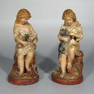 Pair of Old French Chalkware Sculpture Statues, Little Girls with Rabbits & Cat