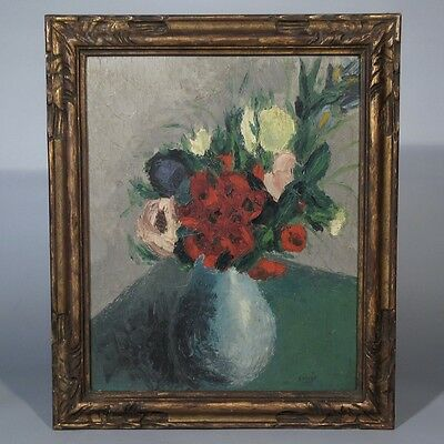 Vintage French ExpressionistOil Painting on Panel,  Bouquet of Flowers,Signed