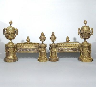 Antique French Gilded Bronze Andirons, Louis XVI Style, 19th c., Stamped