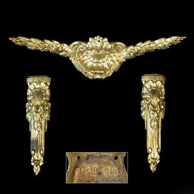 Antique French Louis XVI Gilded Bronze Furniture Decoration Set, Stamped, 3 pcs
