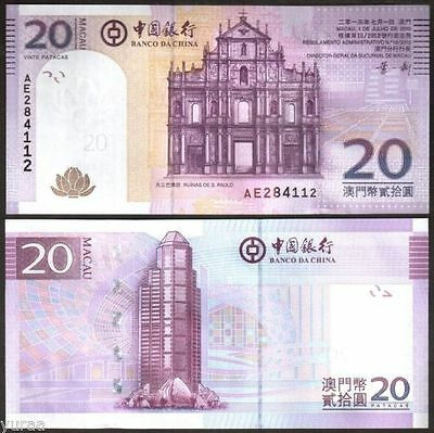 Macau Macao 20 Patacas, Bank of China, 2013, P-109, UNC