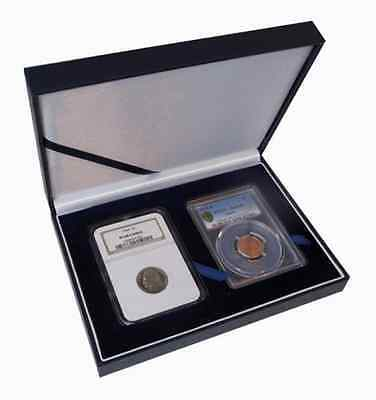 Certified Coin Leatherette Display Slab Box Case 2 Graded Currency Guardhouse US