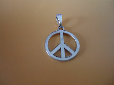 Talisman Peace Sign Silver Pendant with Silver Bail Hippy Boho Pagan (LB-150245)
