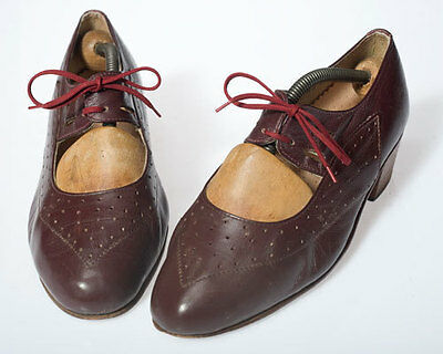 Art Deco, gorgeous 1920s, Vintage French brown leather shoes mary janes 7