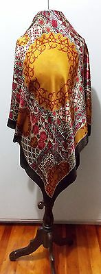 Vintage 1980s Amber, White & Red Silk Women's Square Scarf- A Few Flaws
