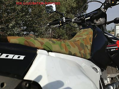 Suzuki DR camo canvas seat cover