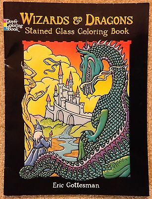 Wizards And Dragons Stained Glass Dover Coloring Book, Eric Gottesman, 16 Pages