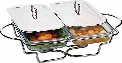 FOOD WARMER BUFFET WITH TWO GLASS DISH Stainless 1.5 l Twin Stainless Steel