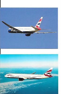 Airline issue postcards-British Airways B777 aircraft x 2 postcards