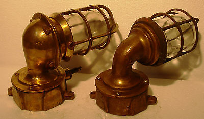 2 pcs Vintage Marine Wall Mount Brass Passage Light / Lamp – Made in USA (A)