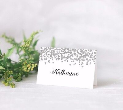 10 Personalised Wedding place card table names SILVER GLITTER CONFETTI