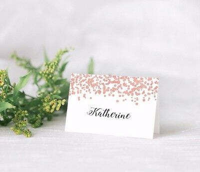 10 Personalised Wedding place card table names LIGHT ROSE GOLD GLITTER