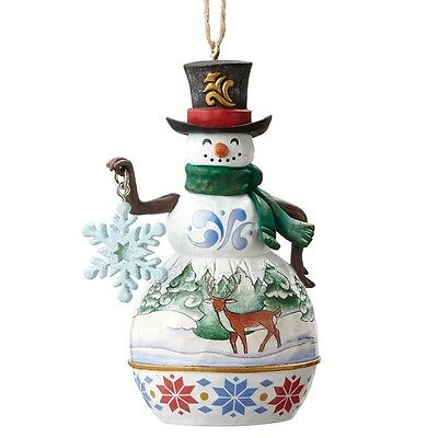 Heartwood Creek by Jim Shore Mini Snowman With Snowflake Hanging Ornament