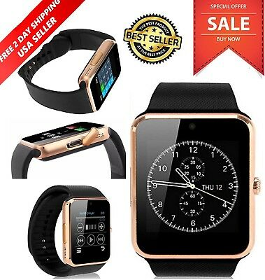 Smart Watch Bluetooth For Samsung iPhone HTC LG Android Ios Wrist Phone GOLD New