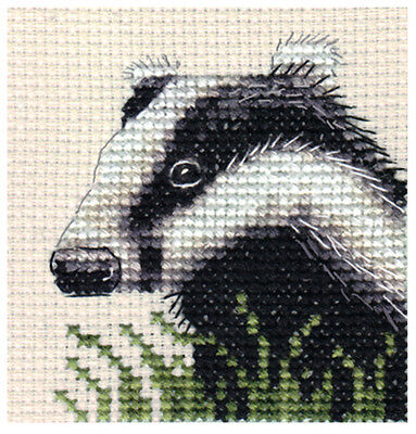 BADGER ~ Full counted cross stitch kit, large-scale chart, with all materials