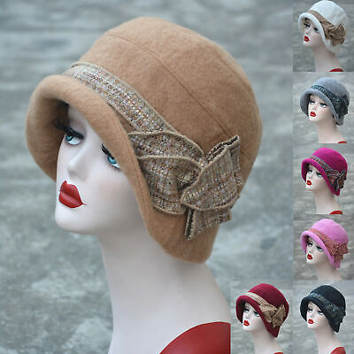 Womens 1920s Gatsby Style Flapper Downtown Abbey Wool Cloche Bucket Cap Hat A374